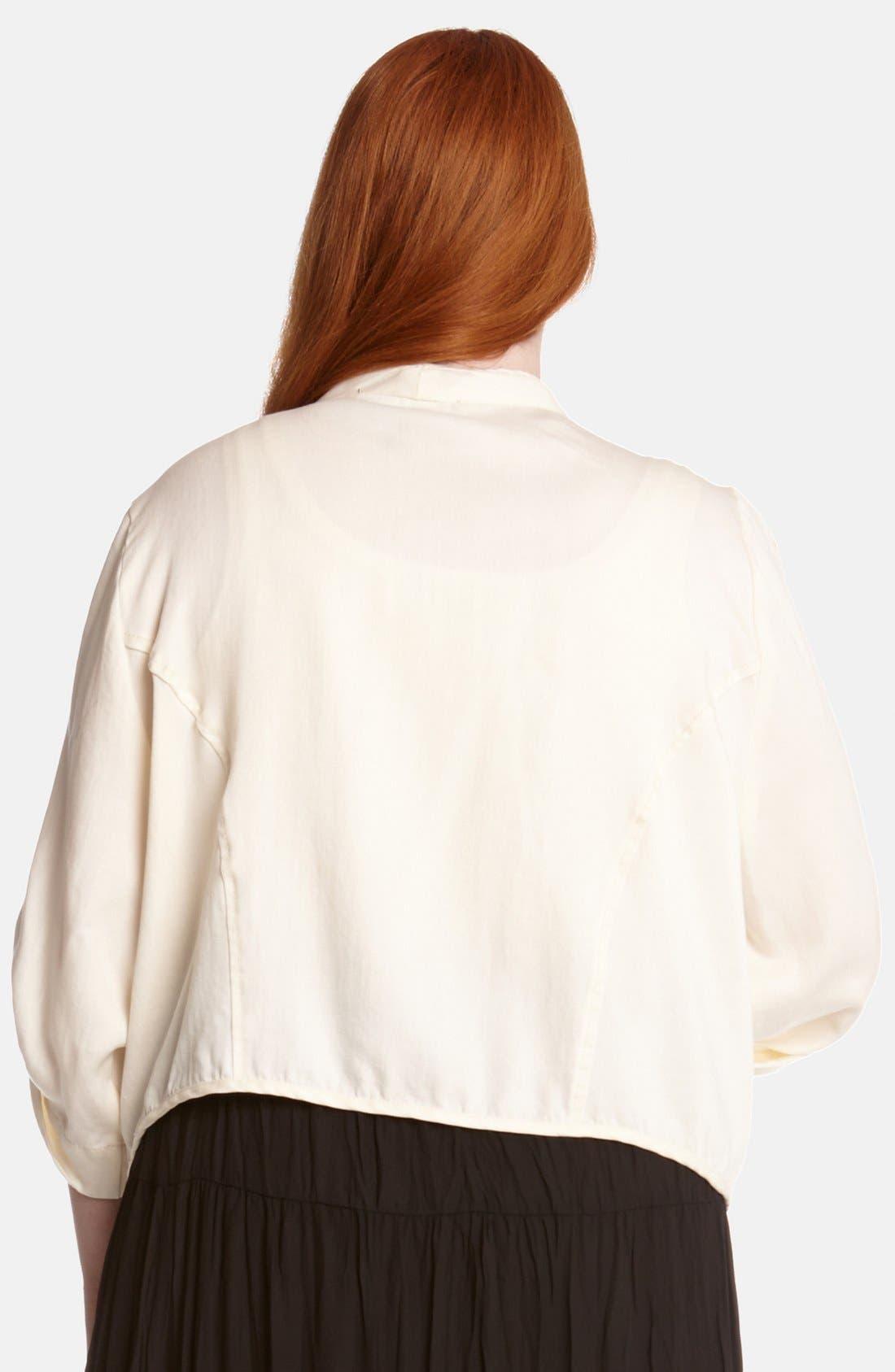 Alternate Image 2  - Karen Kane Roll Sleeve Twill Cascade Jacket (Plus Size)