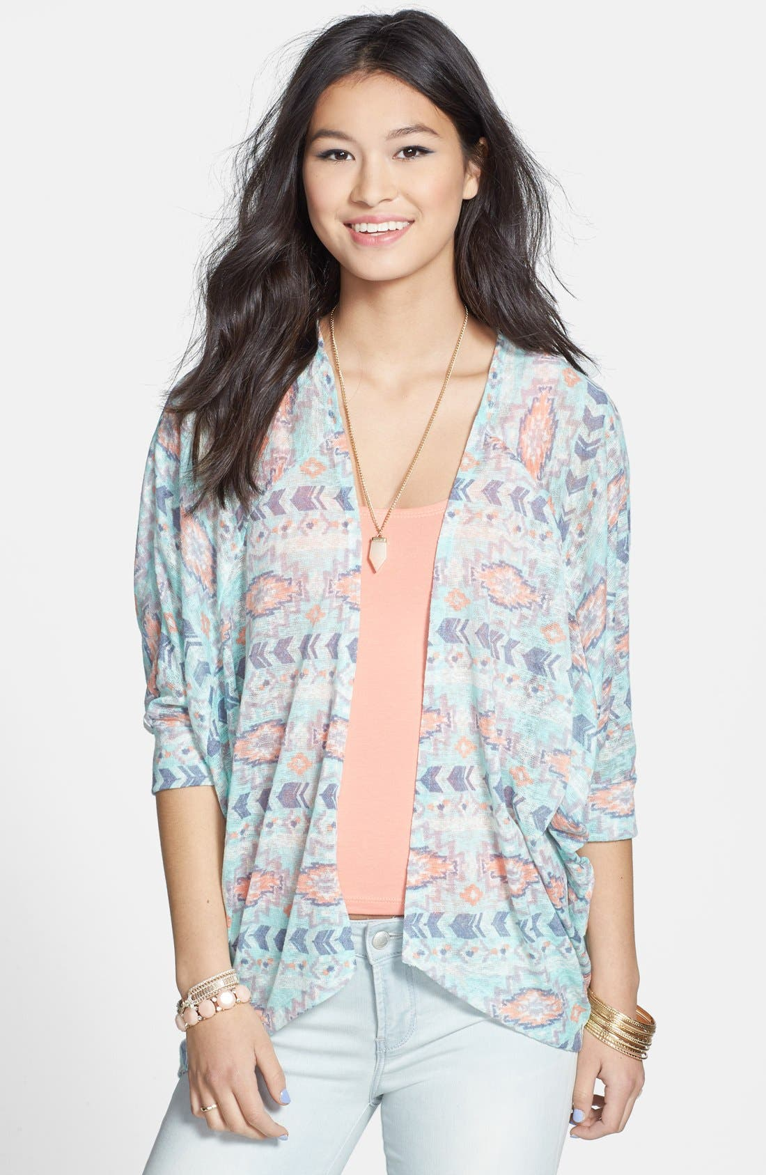 Main Image - Painted Threads Dolman Sleeve Knit Cardigan (Juniors)