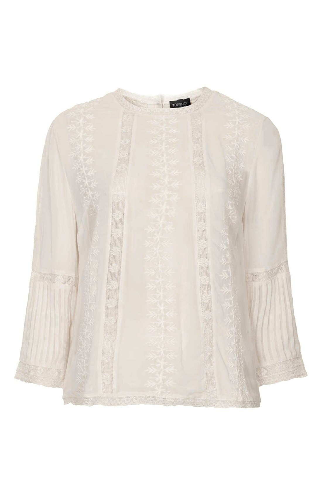 Alternate Image 3  - Topshop Embroidered Blouse