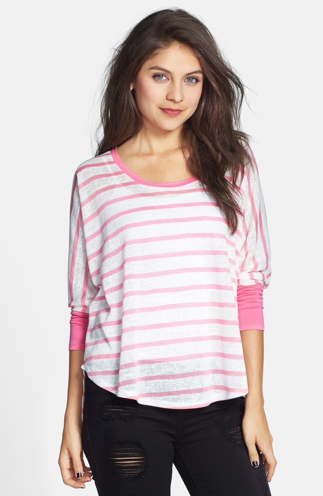 Alternate Image 1 Selected - Mimi Chica Stripe Burnout Dolman Tee (Juniors) (Online Only)