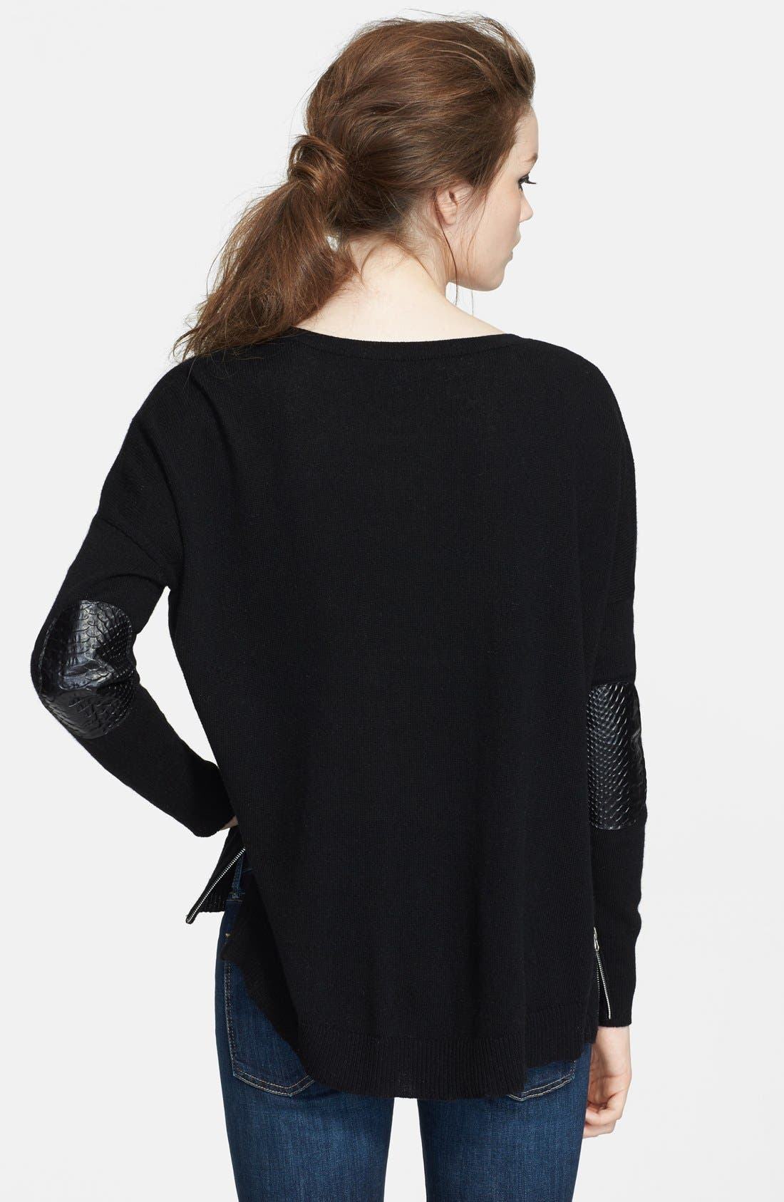 High/Low Cashmere Sweater,                             Alternate thumbnail 2, color,                             Black