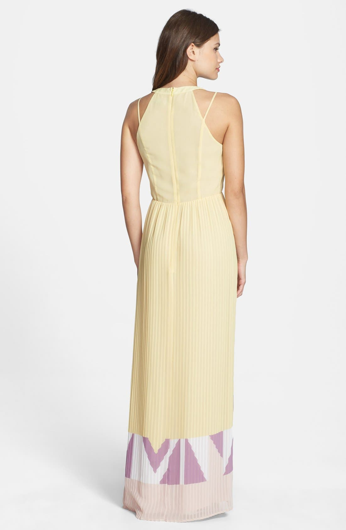 Alternate Image 2  - French Connection Print V-Neck Pleat Maxi Dress