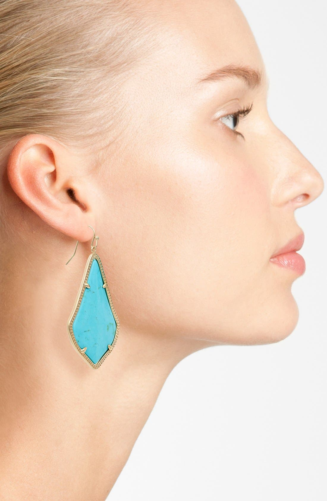 'Alexandra' Large Drop Earrings,                             Alternate thumbnail 2, color,                             Turquoise Magnesite/ Gold