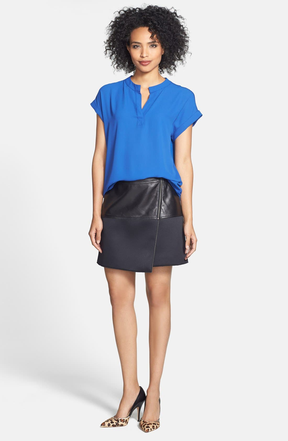 Alternate Image 8  - Halogen® Asymmetrical Zip Leather & Scuba Knit Skirt (Regular & Petite)