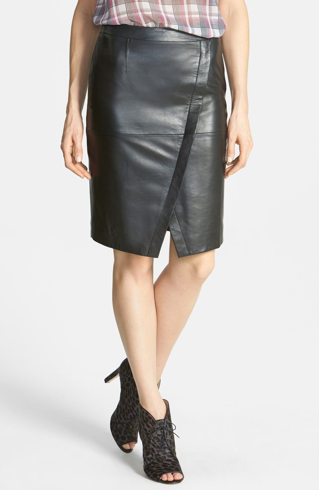 Seamed Leather Pencil Skirt,                         Main,                         color, Black