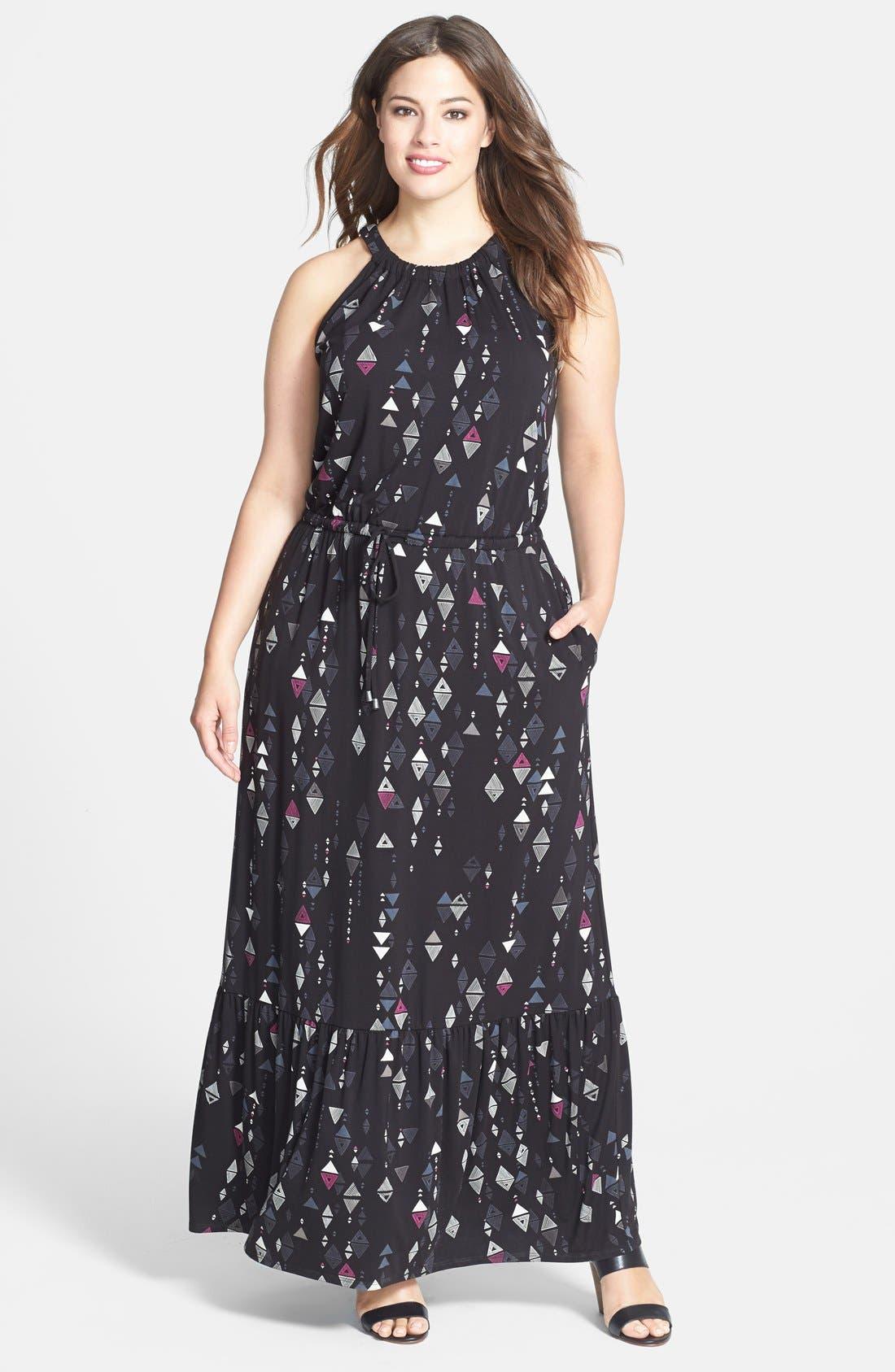 Main Image - Sejour Cutaway Shoulder Jersey Maxi Dress (Plus Size)