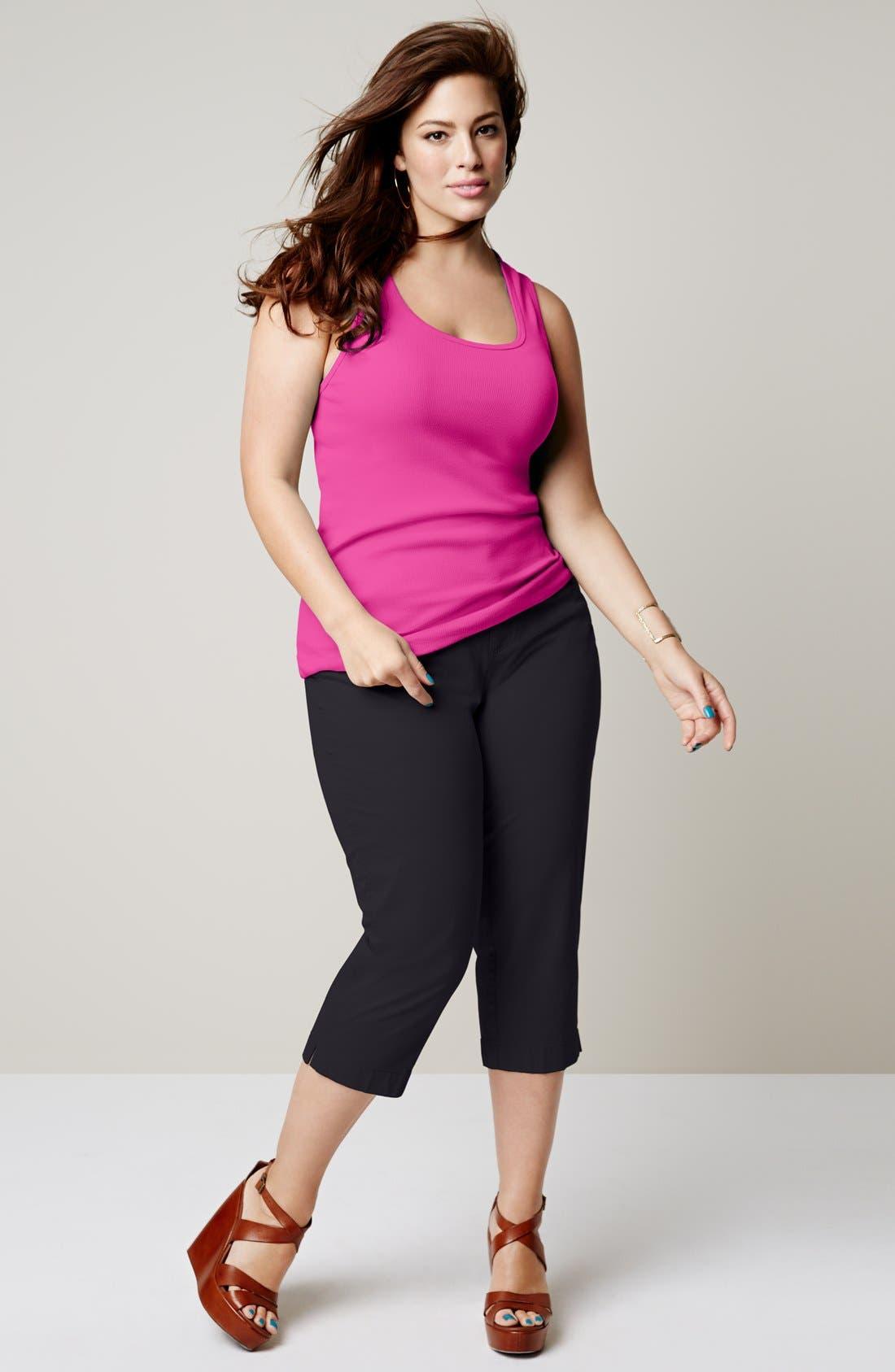 Alternate Image 5  - Sejour 'Megan' Stretch Cotton Crop Pants (Plus Size)