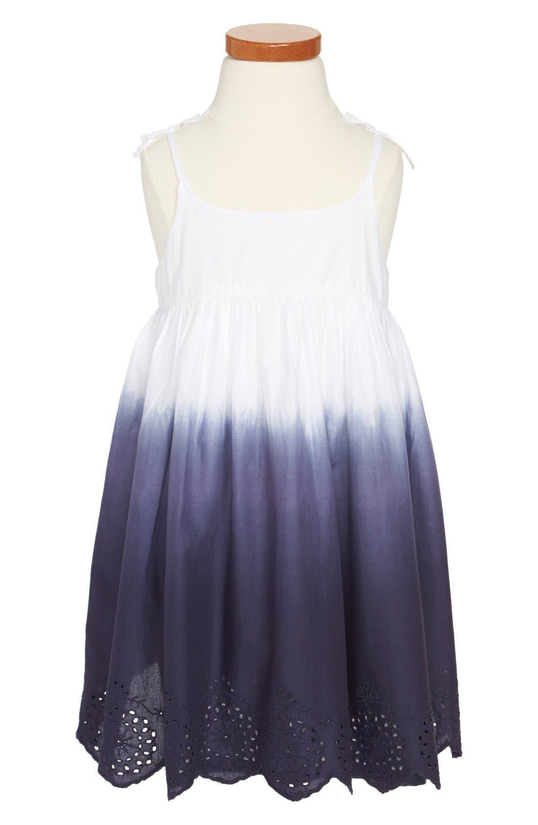 'Maya' Sleeveless Dress,                         Main,                         color, White Dip Dye
