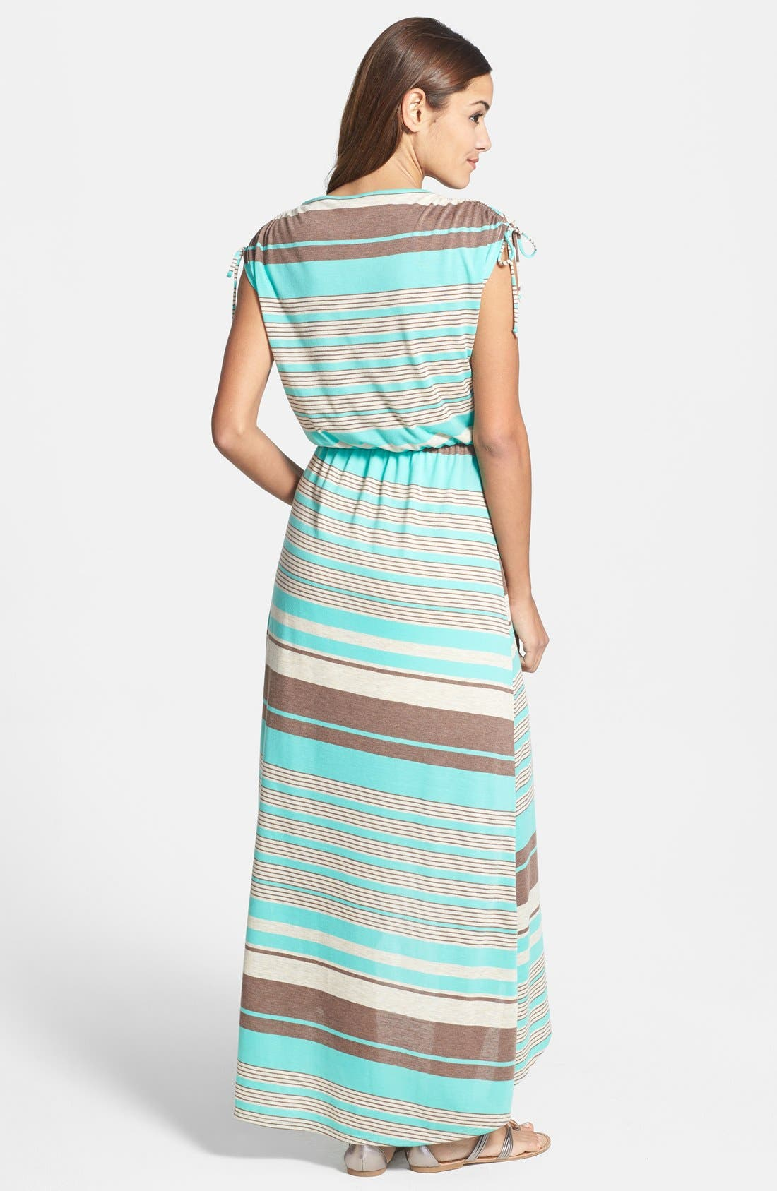 Alternate Image 2  - Loveappella Faux Wrap Stripe Maxi Dress (Petite)