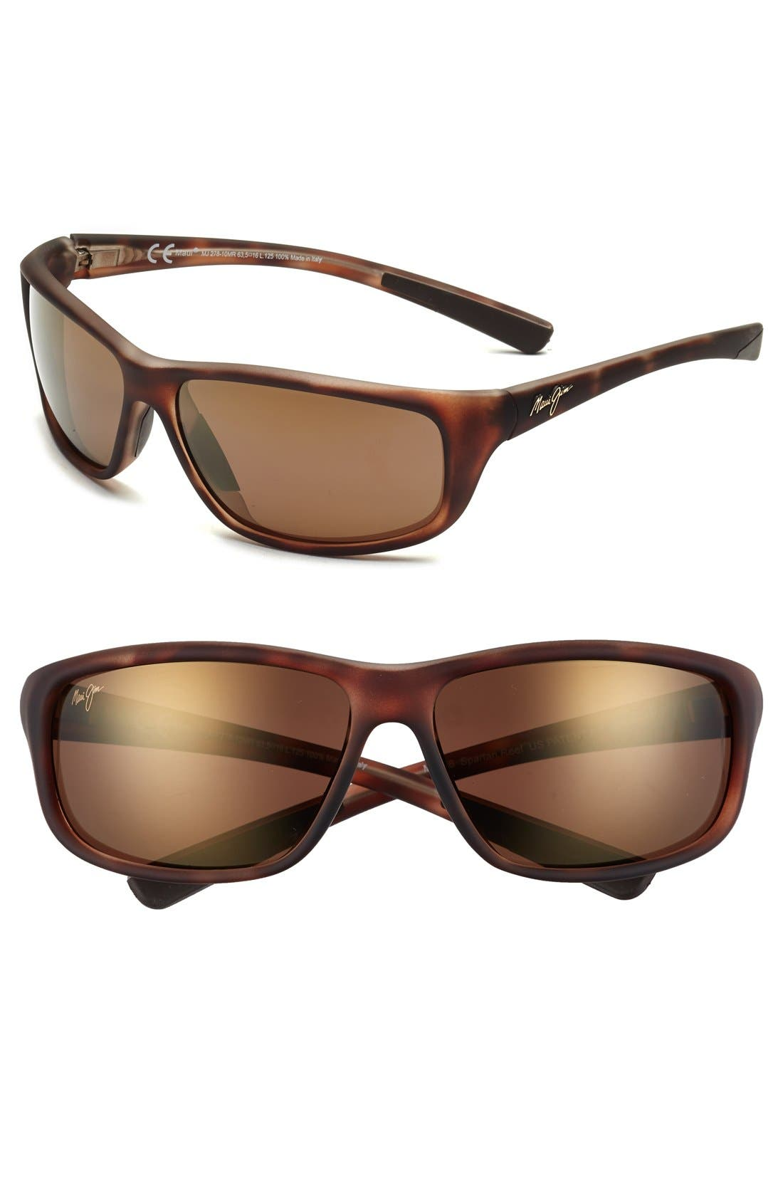 'Spartan Reef - PolarizedPlus<sup>®</sup>2' 64mm Sunglasses,                             Main thumbnail 1, color,                             Matte Tortoise Bronze
