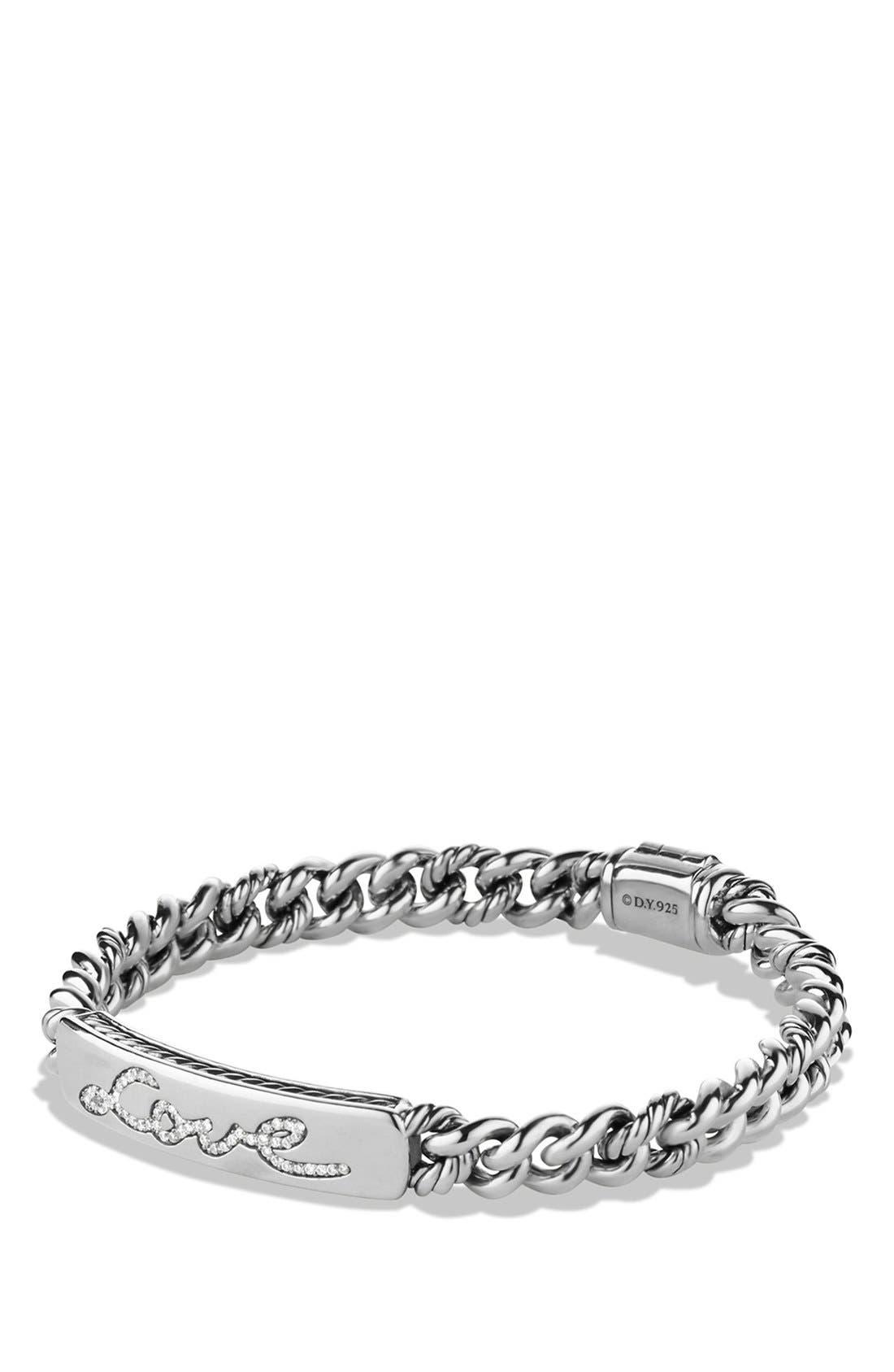 'Petite Pavé' Love ID Bracelet with Diamonds,                         Main,                         color, Diamond/ Silver