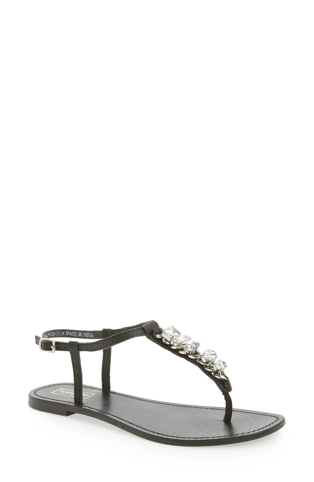 Alternate Image 1 Selected - Topshop 'Hotter' Embellished T-Strap Sandal