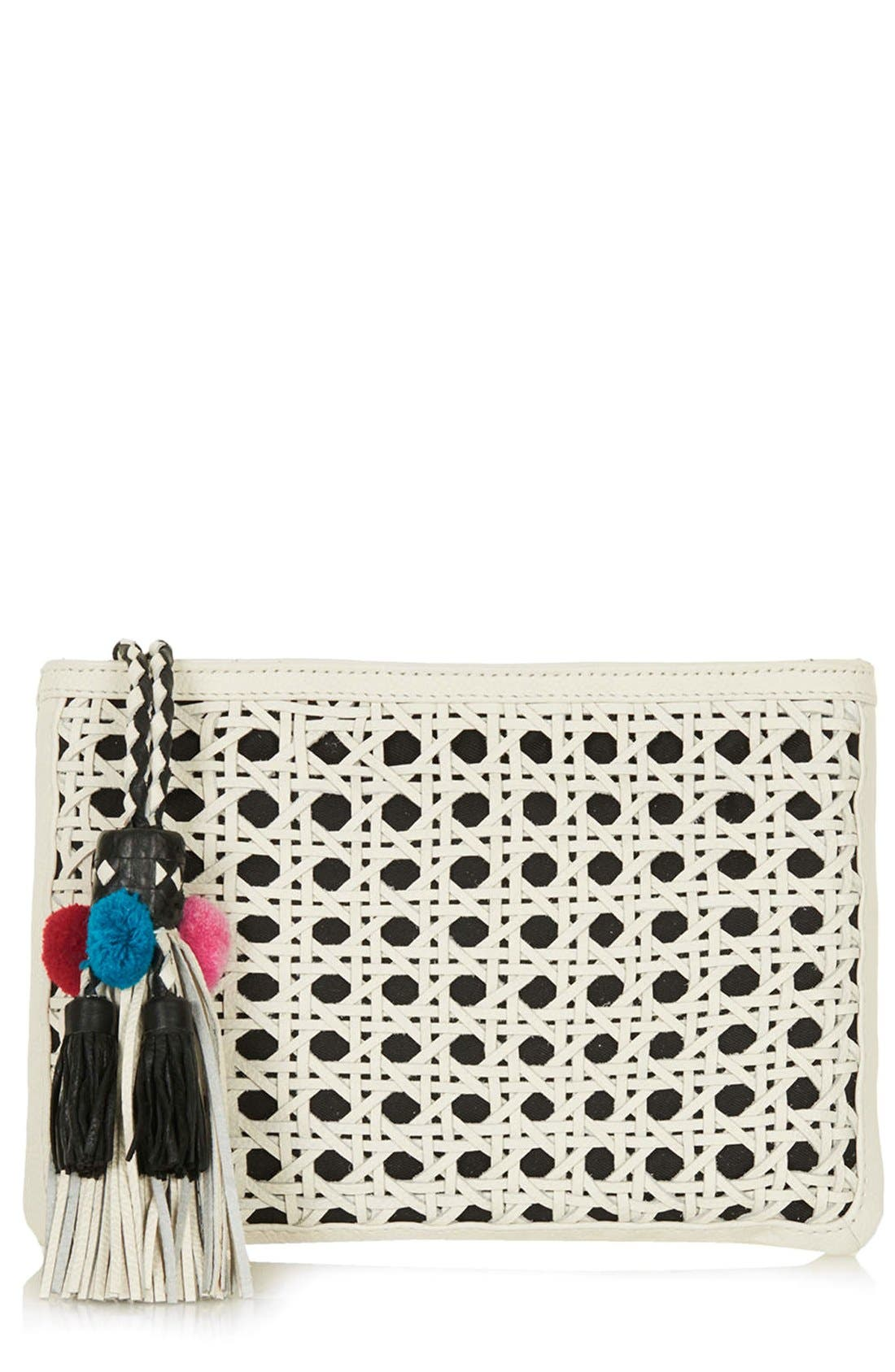 Main Image - Topshop Tassel Textured Leather Clutch