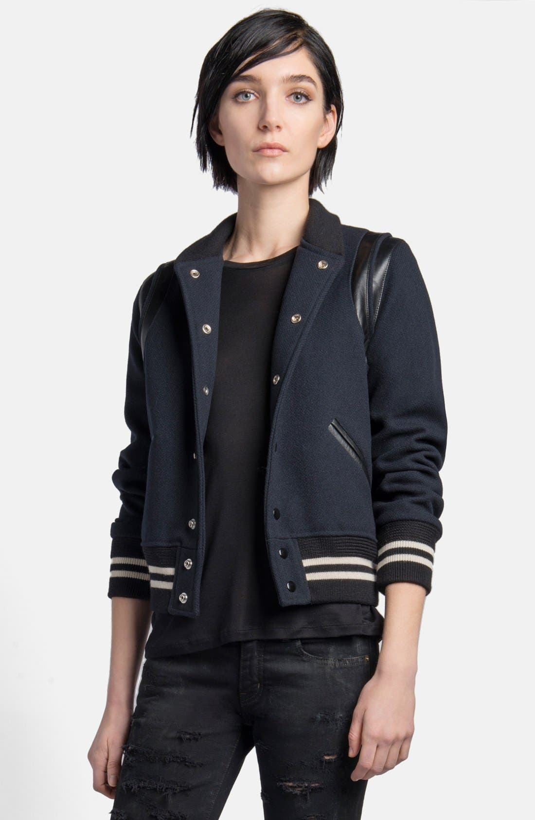 Main Image - Saint Laurent 'Teddy' Leather Trim Bomber Jacket