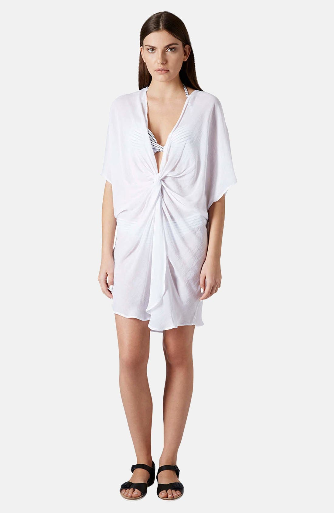 Main Image - Topshop Twist Front Tunic Cover-Up