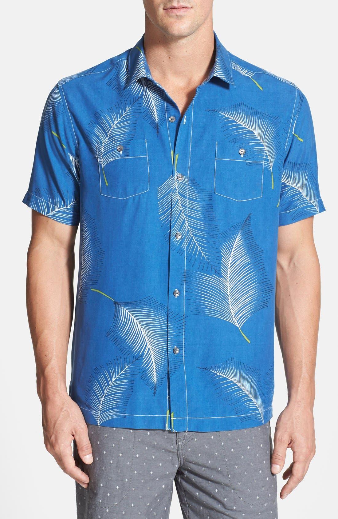 Main Image - Tommy Bahama 'Feathered Fronds' Island Modern Fit Silk Campshirt