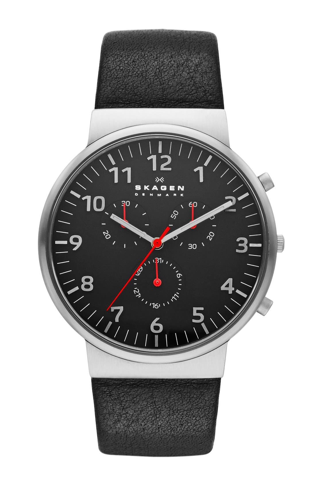 Main Image - Skagen 'Ancher' Round Chronograph Leather Strap Watch, 40mm
