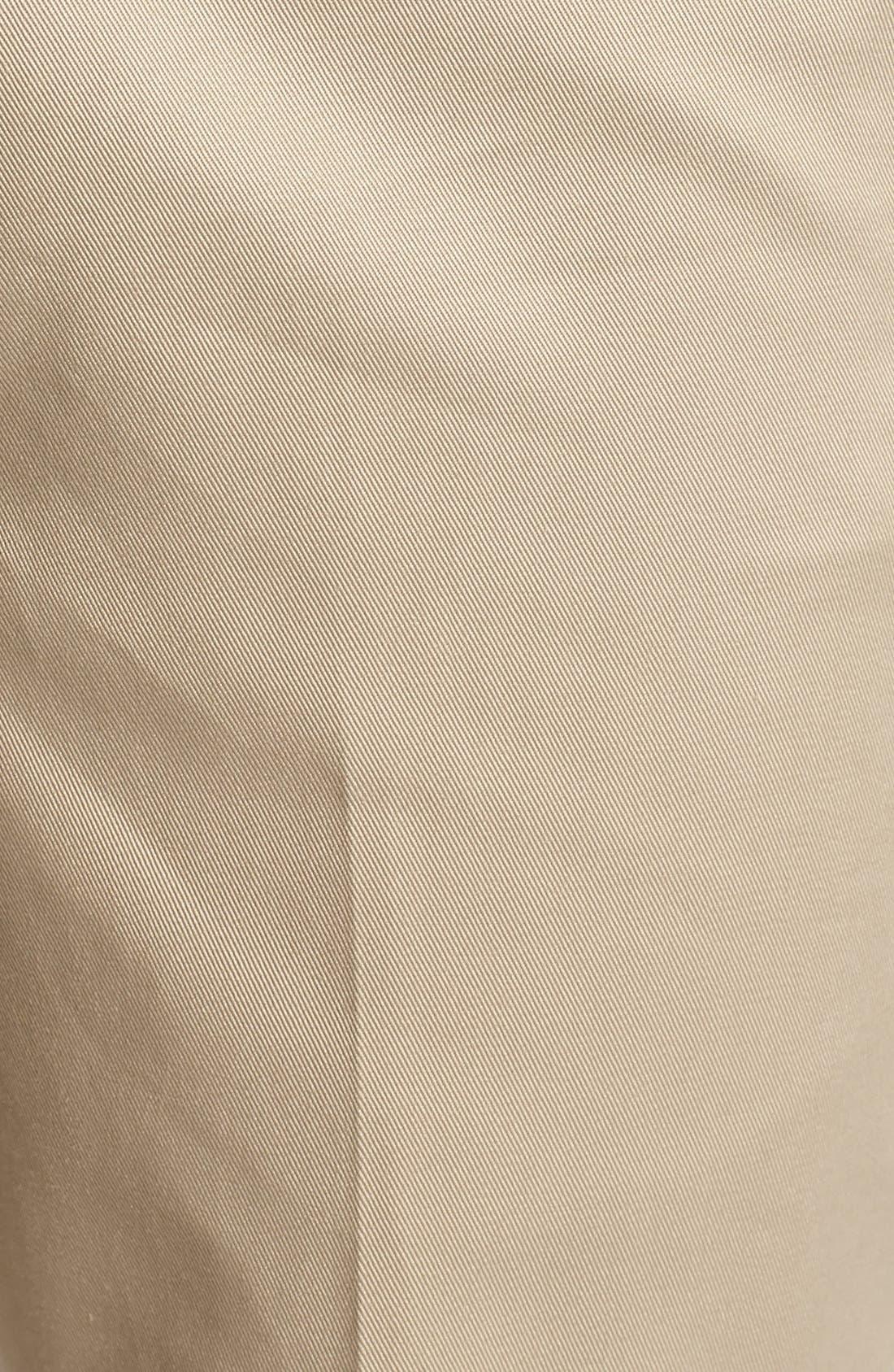Flat Front Wrinkle Resistant Cotton Trousers,                             Alternate thumbnail 2, color,                             Khaki