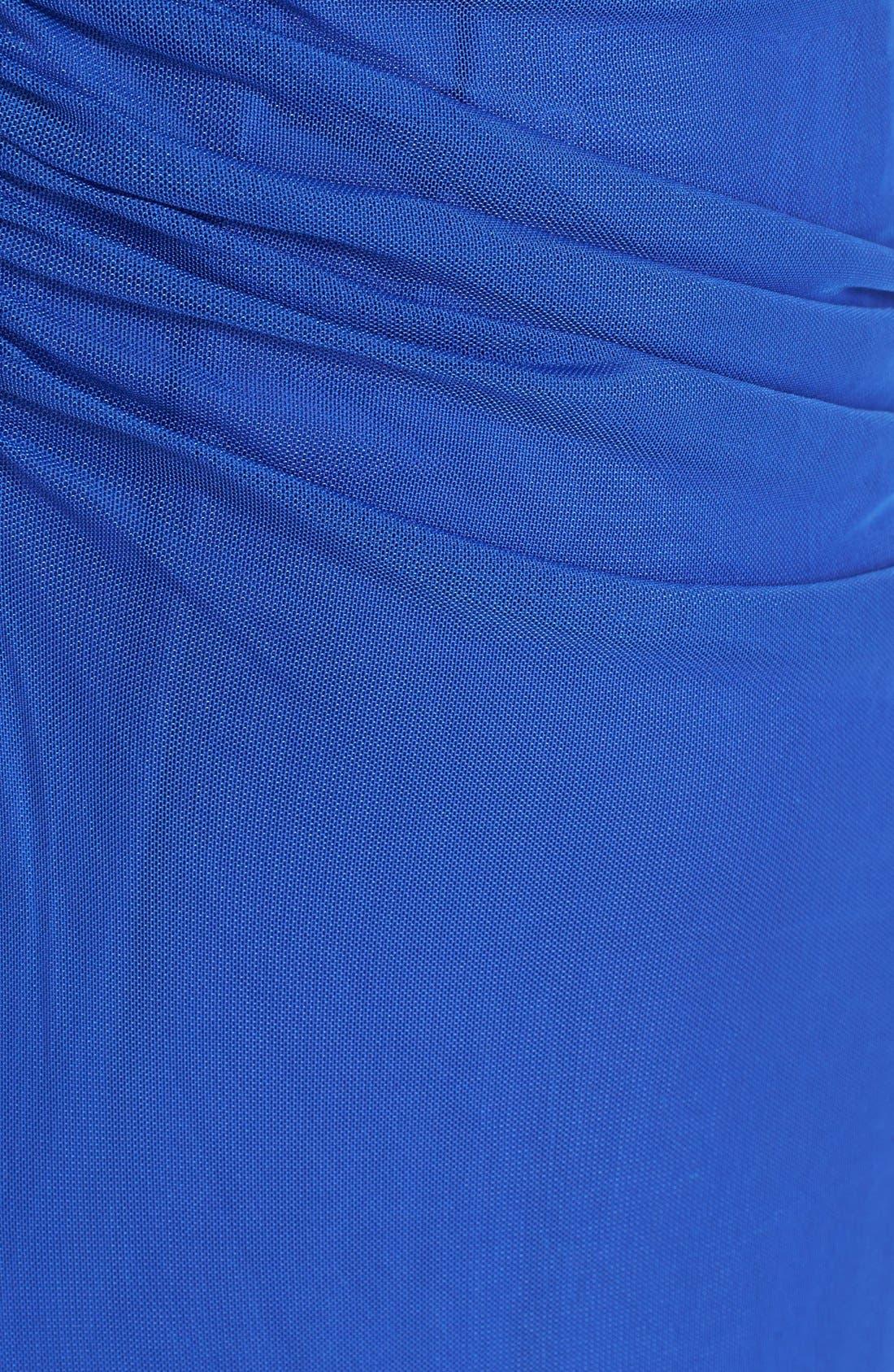 Alternate Image 3  - Tadashi Shoji Ruched Mesh Gown (Regular & Petite)