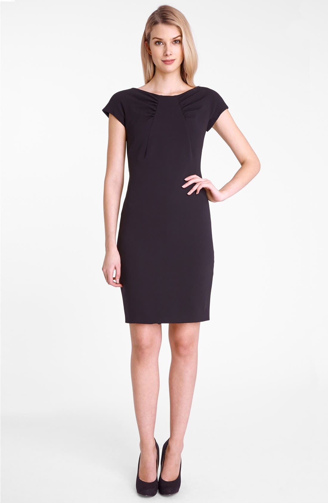 Alternate Image 3  - Tahari Gathered Neck Crepe Sheath Dress (Petite)
