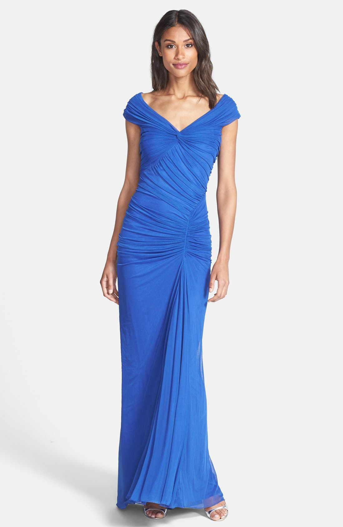 Alternate Image 1 Selected - Tadashi Shoji Ruched Mesh Gown (Regular & Petite)