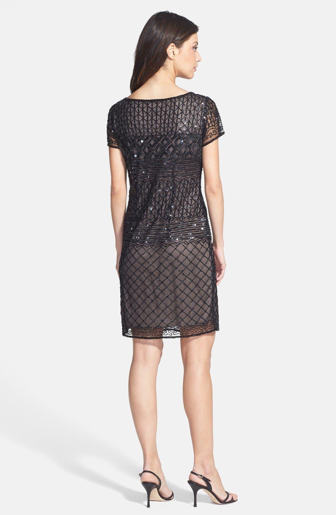 Alternate Image 2  - Pisarro Nights Beaded Short Sleeve Dress (Regular & Petite)