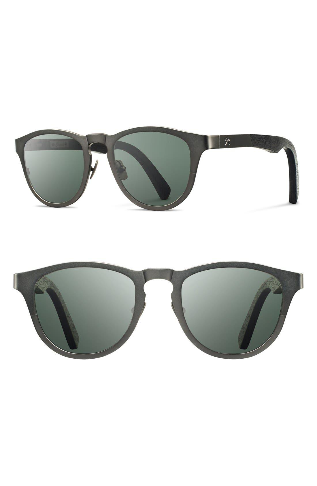 'Francis' 49mm Polarized Titanium & Wood Sunglasses,                         Main,                         color, Gunmetal/ Dark Walnut