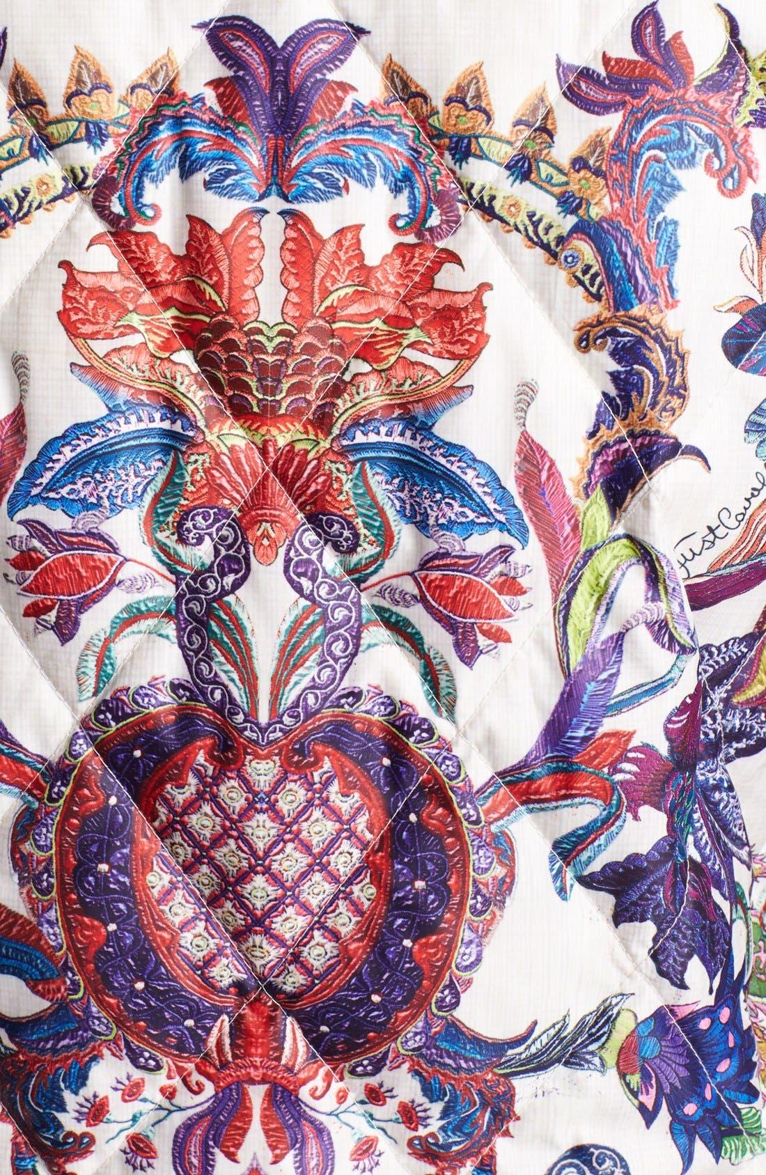 Floral Print Down Puffer Vest,                             Alternate thumbnail 4, color,                             White Variant