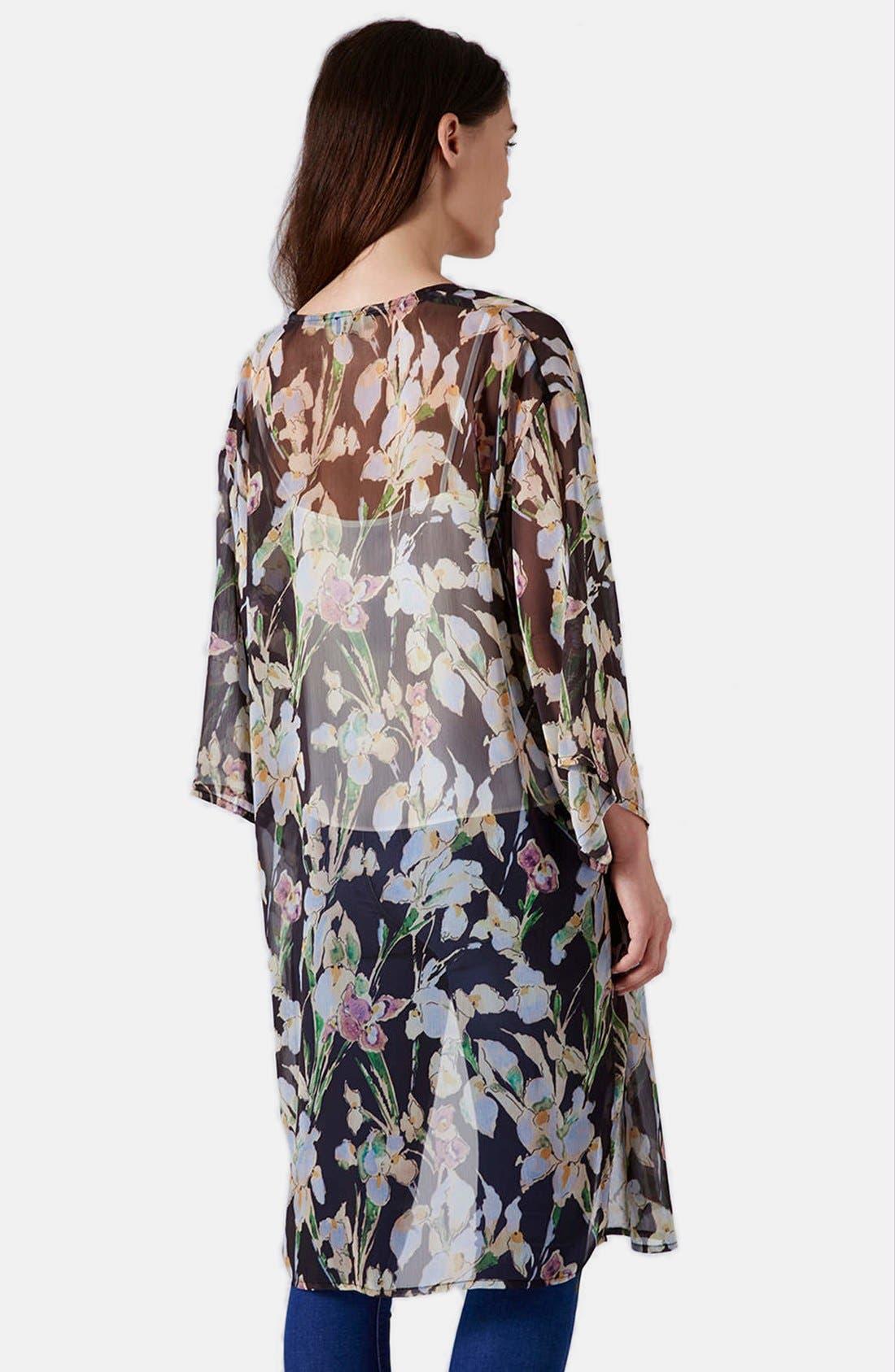 Iris Print Kimono Jacket,                             Alternate thumbnail 2, color,                             Pink Multi