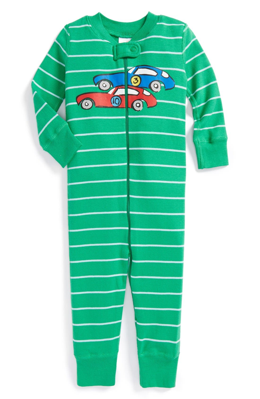 Alternate Image 1 Selected - Hanna Andersson 'Car' Organic Cotton Romper Pajamas (Baby Boys)