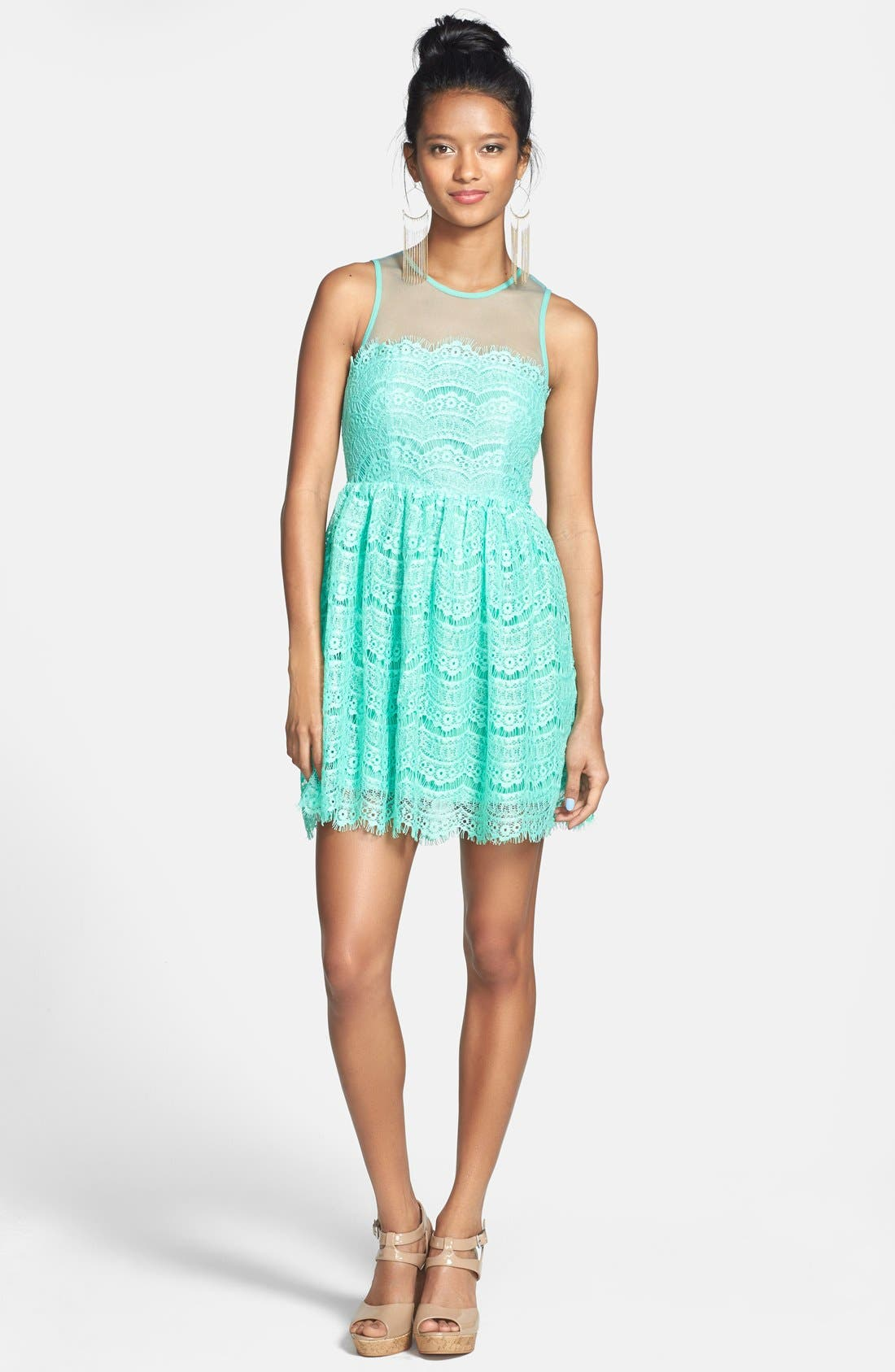 Alternate Image 3  - En Crème Eyelash Lace Skater Dress (Juniors)