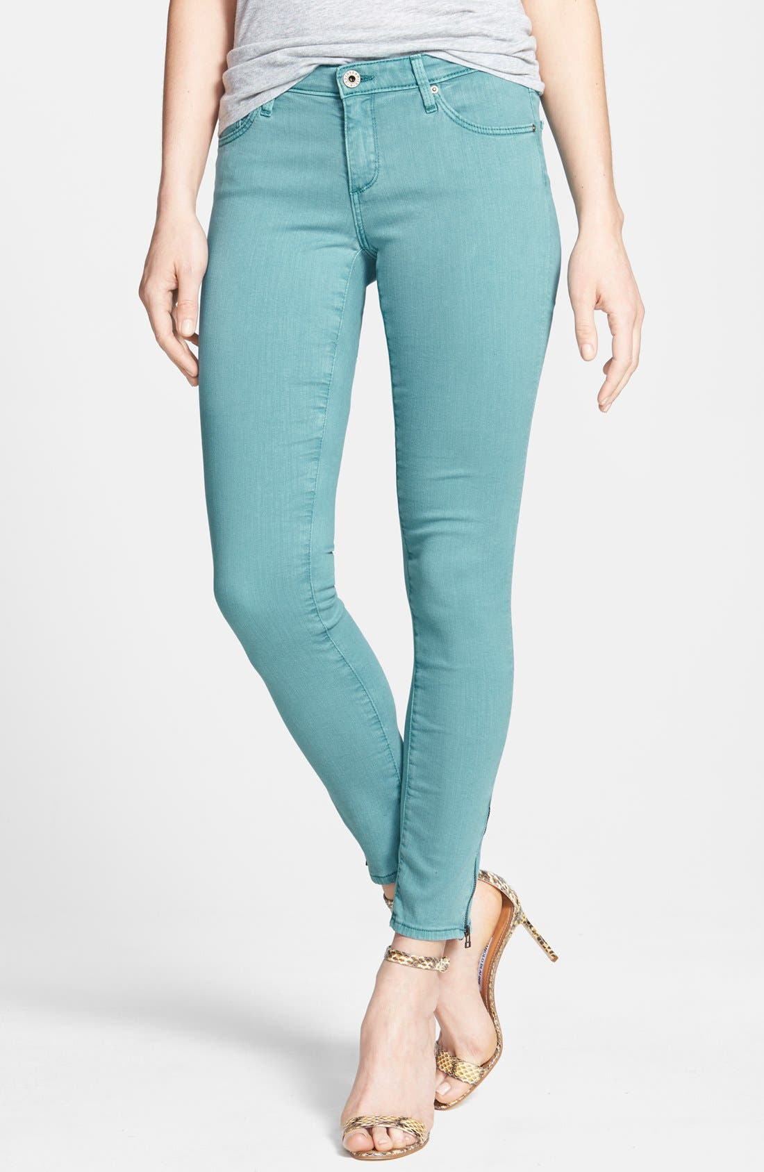 Alternate Image 1 Selected - AG Zip Cuff Ankle Skinny Jeans