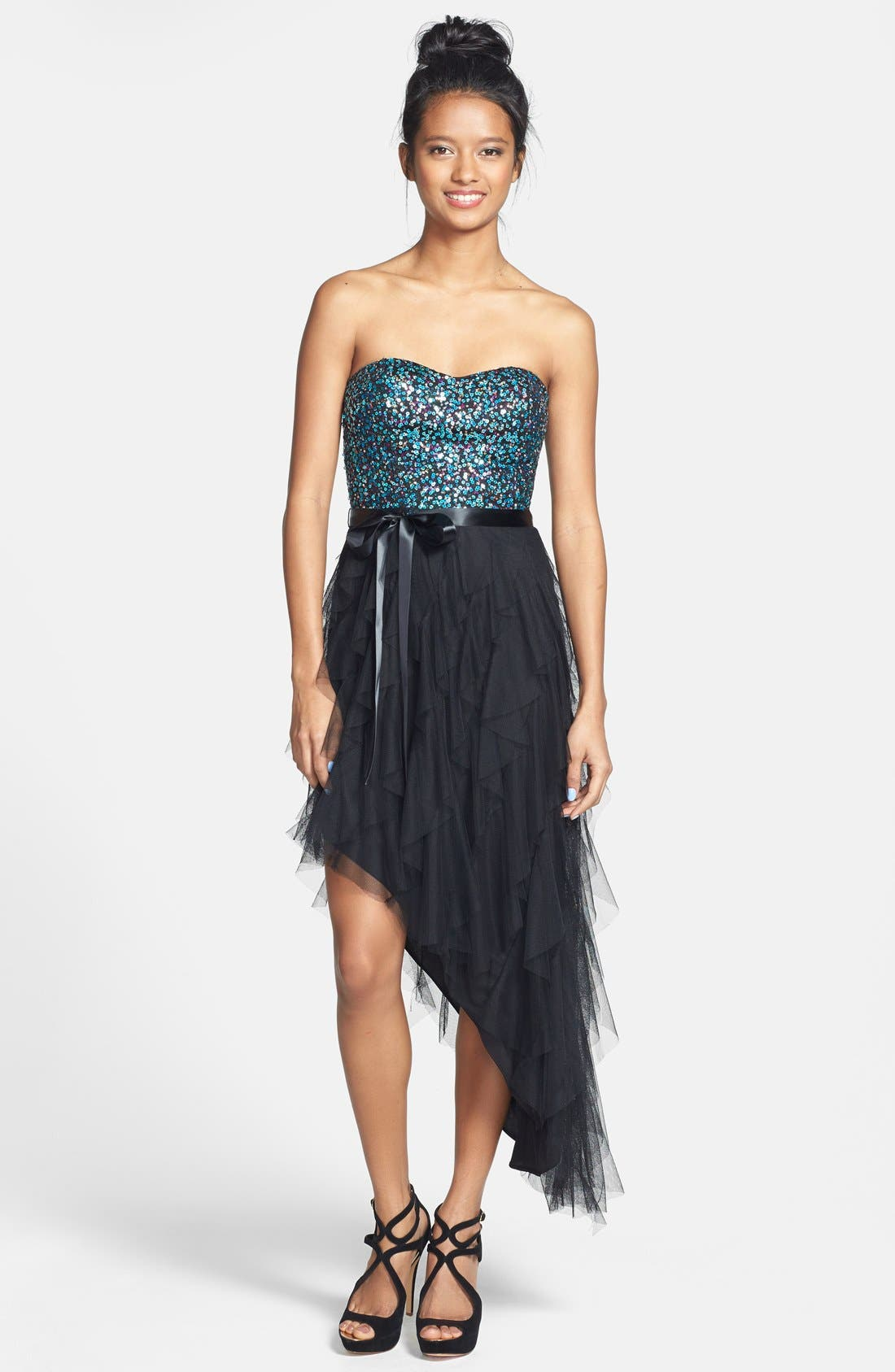Main Image - Hailey Logan Sequin Bodice Ruffled Asymmetric Dress (Juniors)