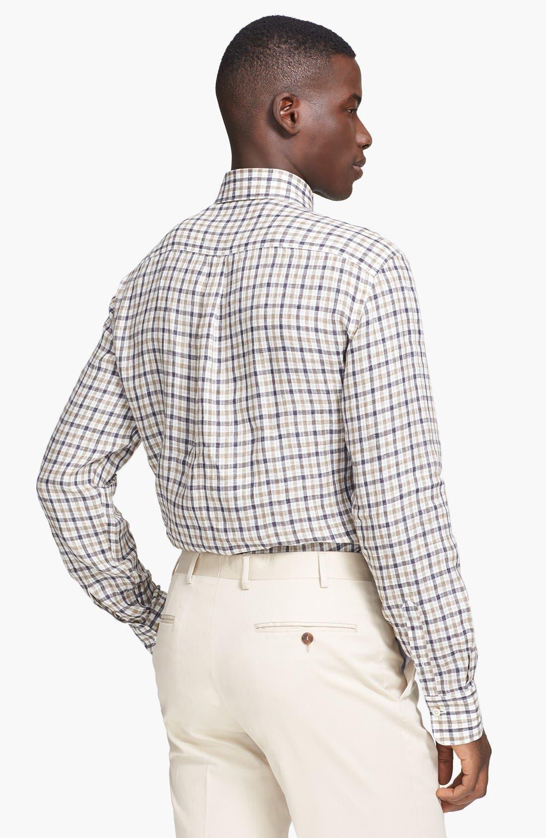 Alternate Image 2  - Canali Regular Fit Linen & Cotton Italian Sport Shirt