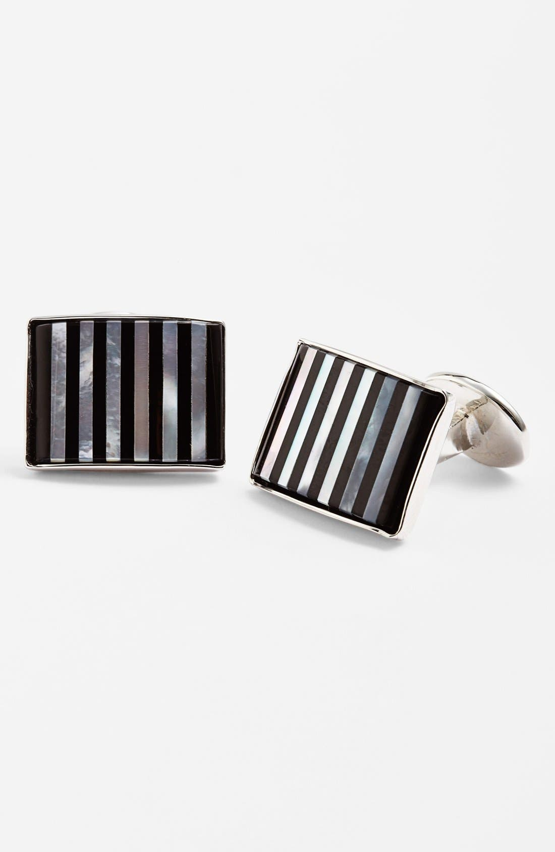 Striped Cuff Links,                         Main,                         color, Silver/ Onyx/ Mother Of Pearl
