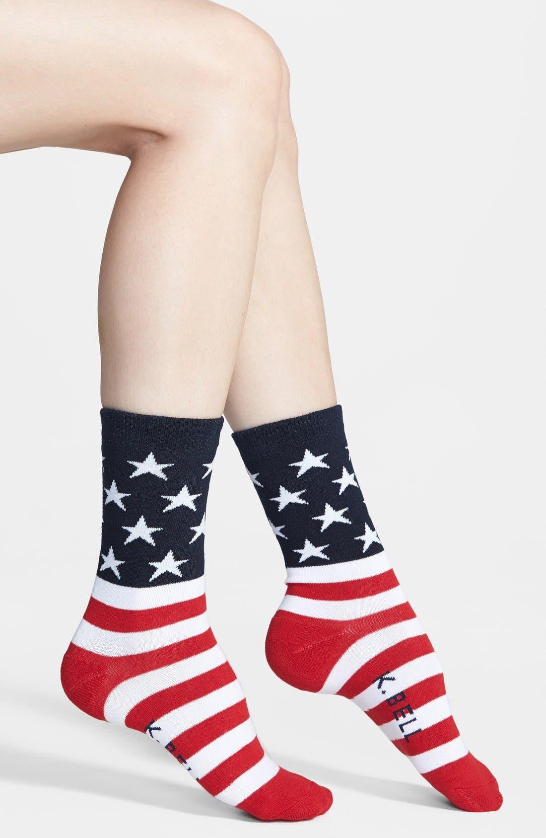 Alternate Image 1 Selected - K. Bell Socks 'American Flag' Crew Socks