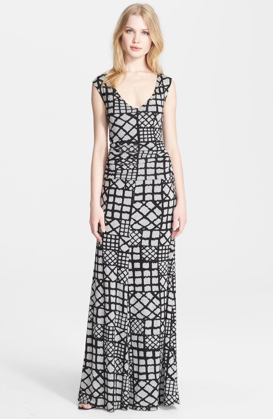 Main Image - Tracy Reese Cross Back Geometric Print Jersey Maxi Dress