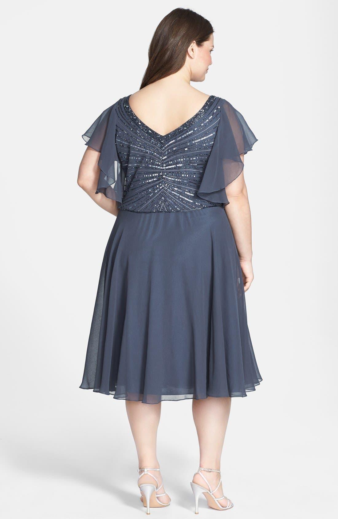 Alternate Image 2  - J Kara Beaded Dress (Plus Size)