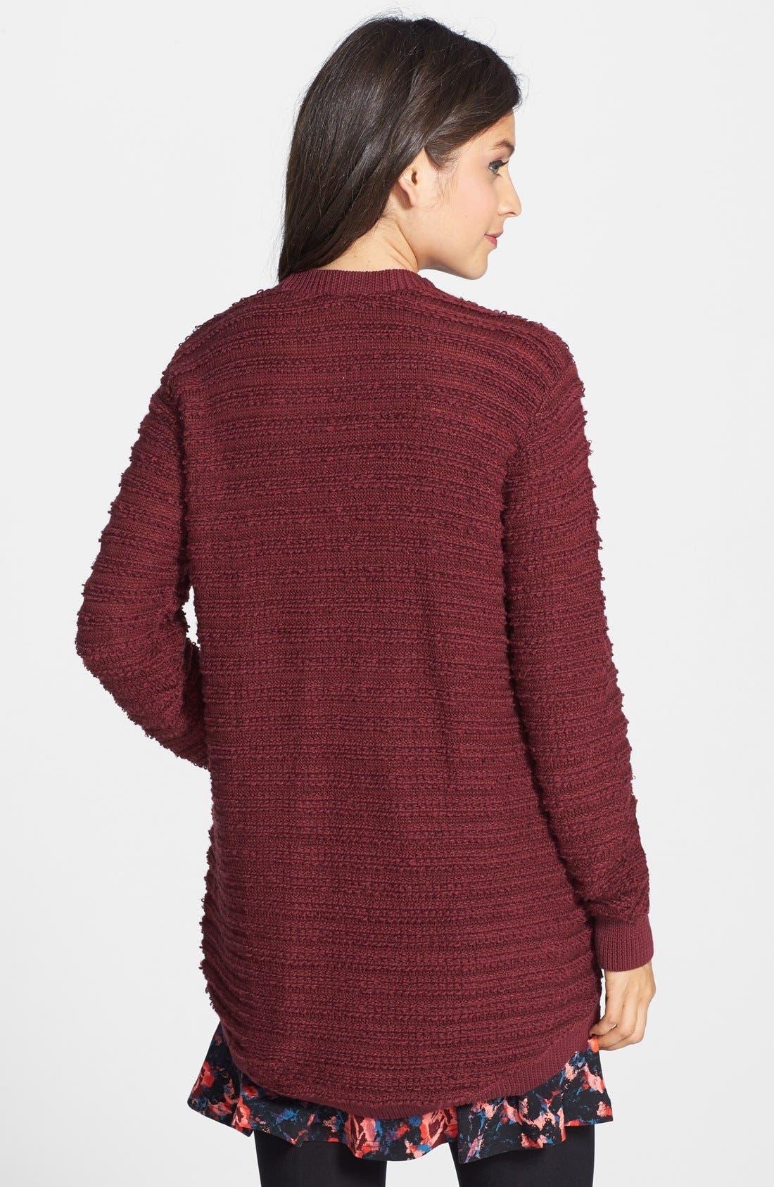 Alternate Image 2  - BP. Stripe Knit Open Cardigan (Juniors) (Online Only)