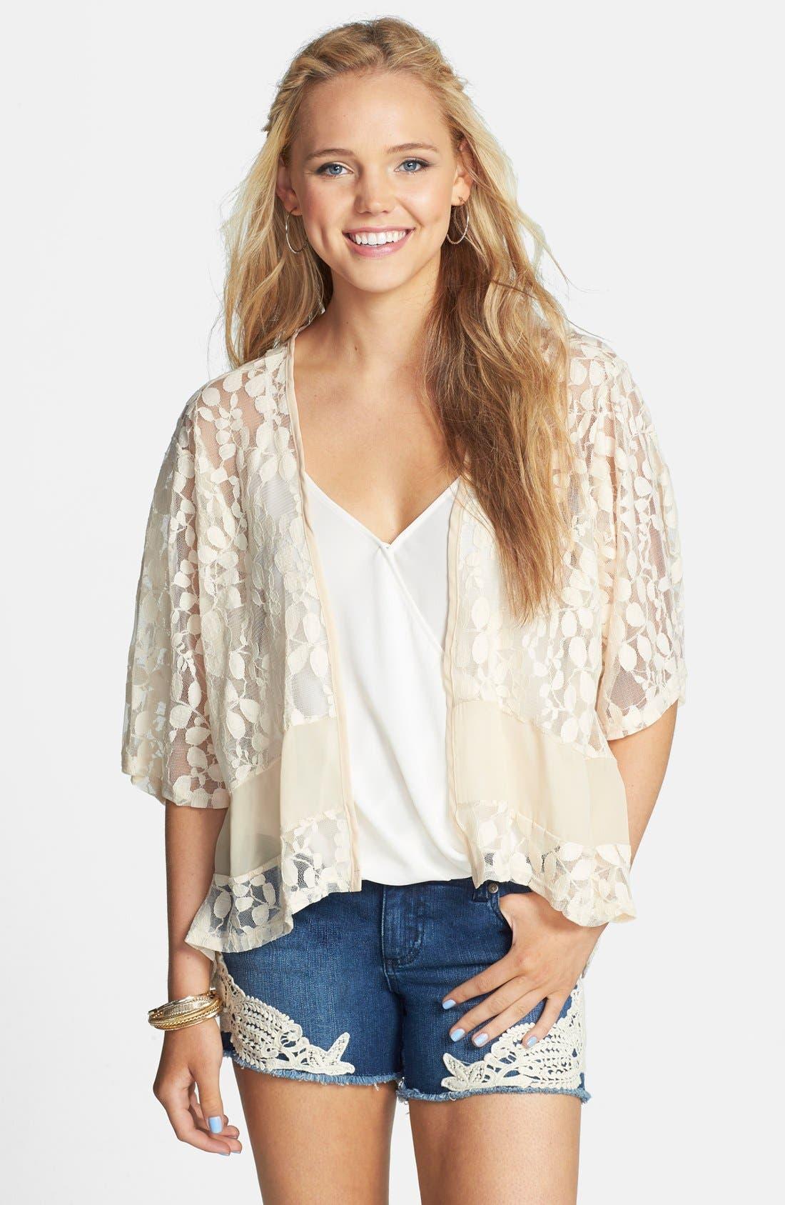 Short Lace Kimono,                         Main,                         color, Cream