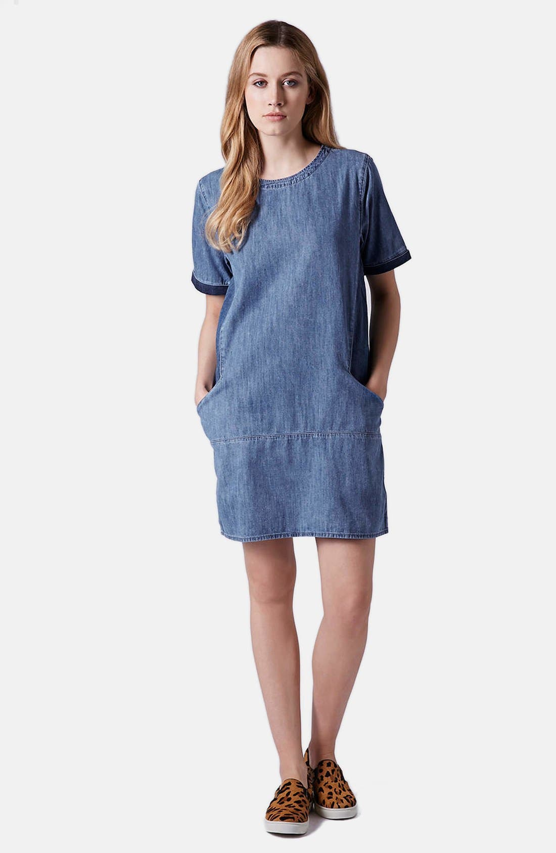 Alternate Image 4  - Topshop Moto Colorblock Denim T-Shirt Dress