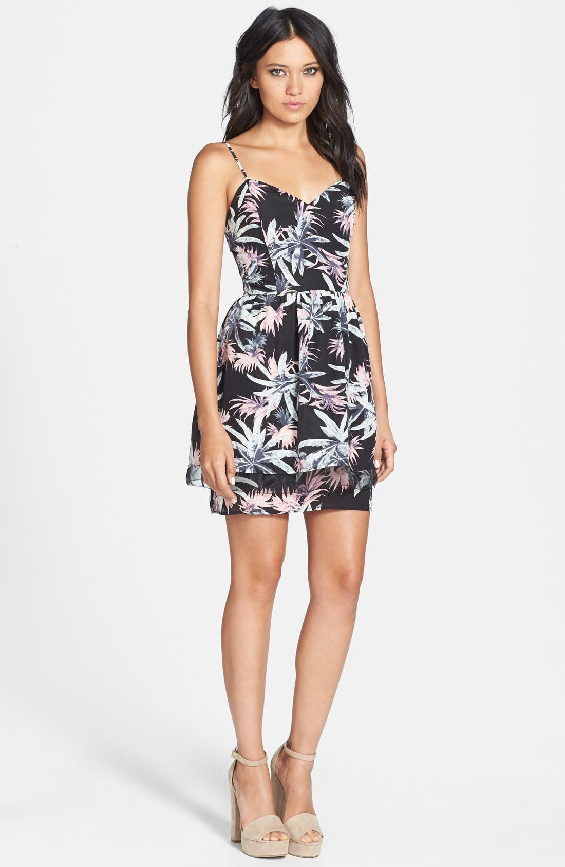 Main Image - Like Mynded Floral Print Elastic Back Dress