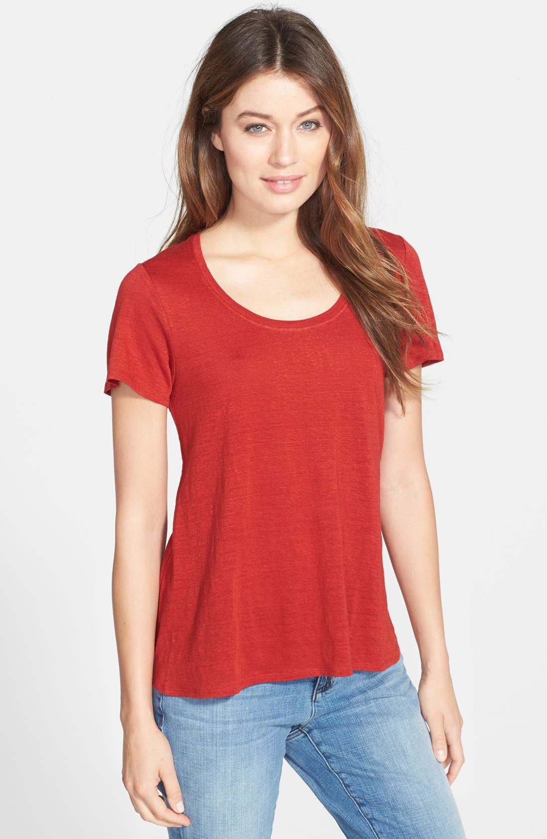 Alternate Image 1 Selected - Eileen Fisher U-Neck Organic Linen A-Line Tee
