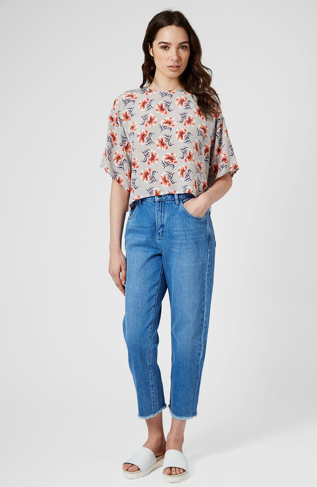 Alternate Image 5  - Topshop Boutique Floral Print Silk Top