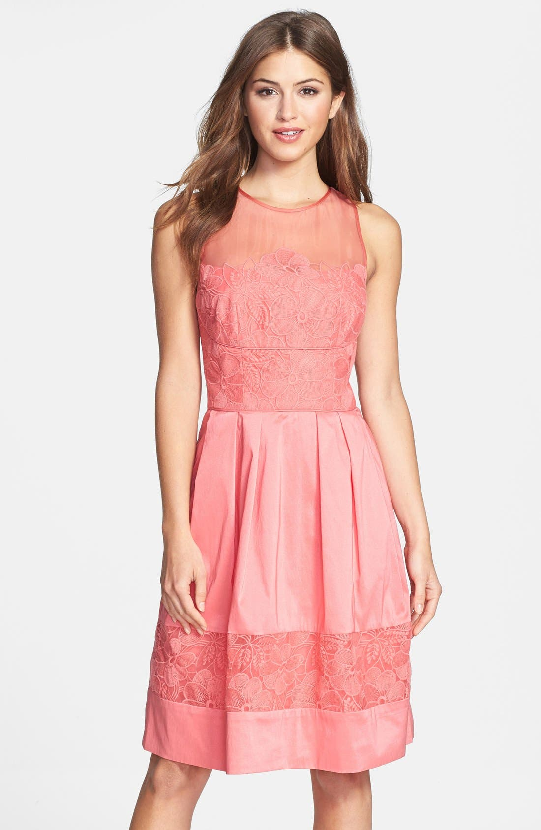 Alternate Image 1 Selected - Maggy London Embroidered Detail Taffeta Fit & Flare Dress (Petite)