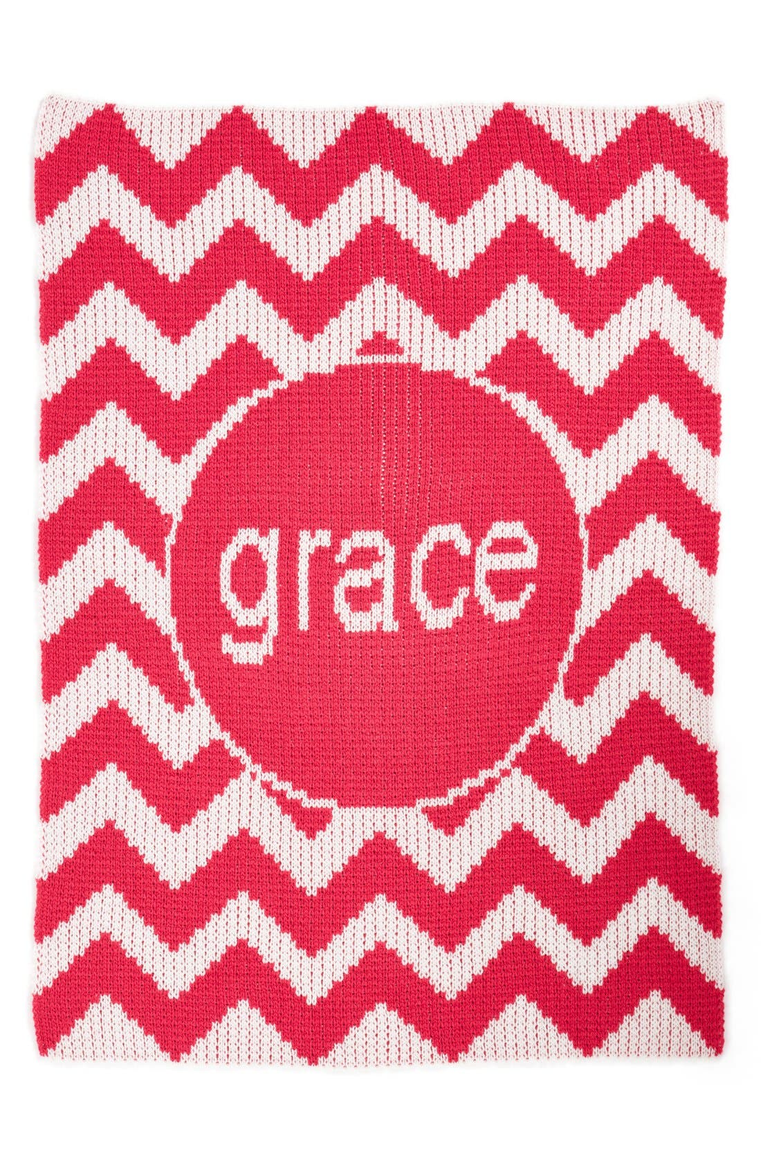 'Chevron - Large' Personalized Blanket,                             Main thumbnail 1, color,                             Hot Pink/ White