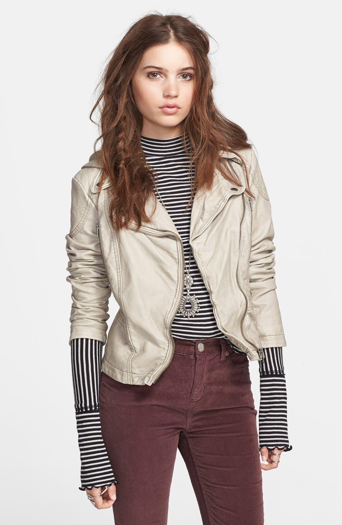 Hooded Faux Leather Moto Jacket,                             Main thumbnail 1, color,                             Light Grey