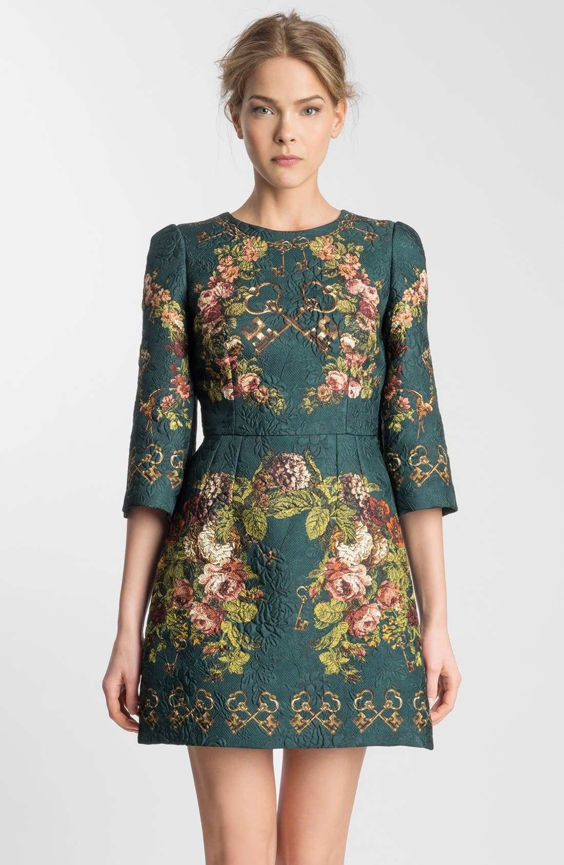 Alternate Image 3  - Dolce&Gabbana Key Print Floral Brocade Dress