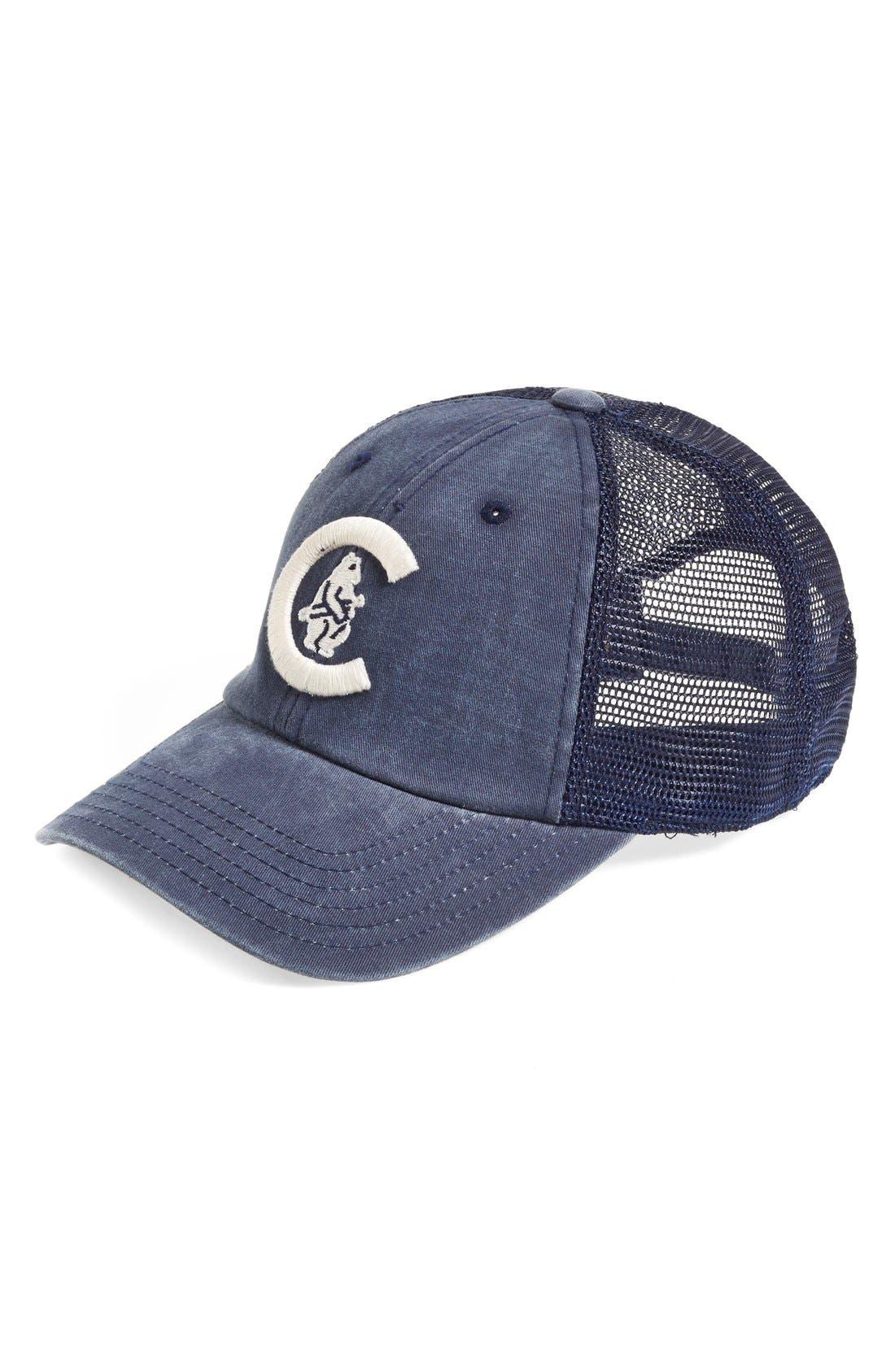 'Chicago Cubs - Raglan Bones' Mesh Trucker Cap,                             Main thumbnail 1, color,                             Navy