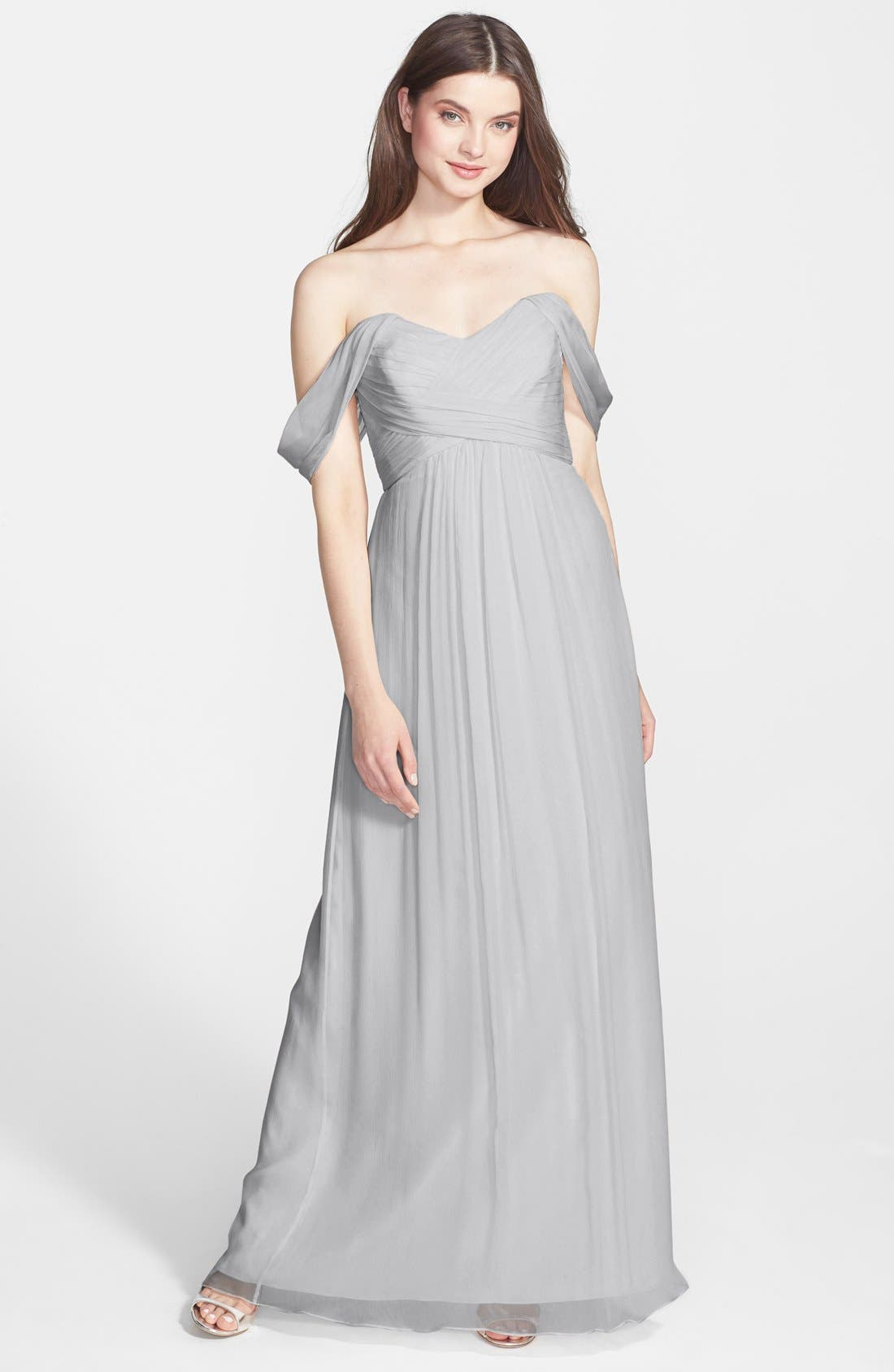 Alternate Image 1 Selected - Amsale Convertible Crinkled Silk Chiffon Gown